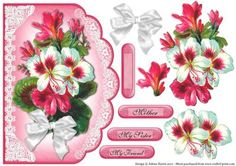 Tropical Bouquet Scalloped Edge Card on Craftsuprint designed by Julene Harris - Stunning vintage artwork of pink and white flowers on a scalloped card front. - Now available for download!