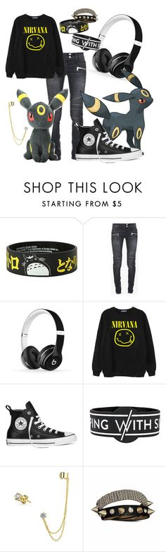 """Umbreon Set"" by the-duchess-of-nerds ❤ liked on Polyvore featuring Ghibli, Balmain, Beats by Dr. Dre, Chicnova Fashion, Converse, Bling Jewelry, fab, Pokemon, Umbreon and eeveelution"