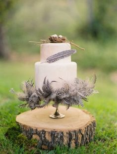 Love the little #nest on top of this #wedding #cake adorned with #feathers