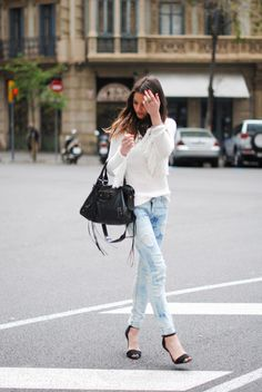 Distressed denim paired with minimal heels Coffee With Friends, Safari Shirt, Denim Heels, Tie Dye Jeans, Classic White Shirt, Fringe Sweater, Silky Dress, Drawstring Pants, Distressed Denim