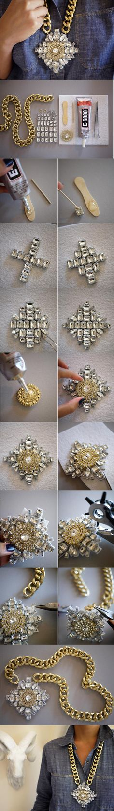 Crystal Necklace – DIY; This would look great in a smaller size or maybe as some earrings with a similar technique