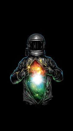cartoon image of an astronaut, opening his suit to reveal a galaxy, cute galaxy wallpaper, black background Wallpaper Space, Trendy Wallpaper, Wallpaper Backgrounds, Wallpaper Samsung, White Wallpaper, Marvel Wallpaper, Iphone Backgrounds, Wallpaper Ideas, Screen Wallpaper