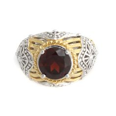 Victoria Wieck 2.5ct Garnet 2 Tone Sterling Silver Quatrefoil Dome Ring Size 7 #VictoriaWieck #Solitaire