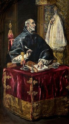 San Ildefonso por El Greco (h. 1597-1603). Atributos: hábito monacal. Casulla que le entregó la Virgen.