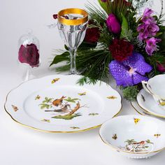 Place Setting Five Piece- Herend Rothschild Bird ROdesign. Herend fine china Dinner Sets, Place Settings, Dinner Plates, Fine China, Wedding Gifts, Porcelain, Traditional, Bird, Fruit