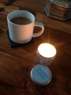 A customer sent me this - soothing her horrid cold with her warming peppermint & eucalyptus candle and a cup of tea