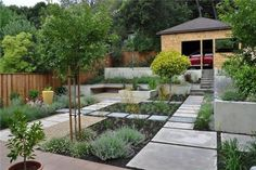 This backyard courtyard has a water feature and meadow plantings as a substitute for lawn.