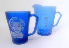 Nice addition to your #ShirleyTemple vintage doll display or collection. 1930s Hazel Atlas Cobalt Blue Glass Pitcher & Mug Set Vintage 2pc