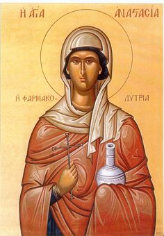 """Saint Anastasia the """"Deliverer from Potions"""" century) Patron saint of martyrs, weavers, and those suffering from poison. In this image, she even looks like """"our"""" Anastasia! Religious Images, Religious Icons, Religious Art, Catholic Art, Catholic Saints, Santa Anastasia, Apocalypse, Byzantine Icons, Orthodox Christianity"""