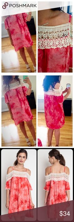 ❗️JUST IN❗️ Red Tie Dye Off Shoulder Mini Dress Brand new off shoulder crochet dress. Beautiful tie dye print and perfect for this summer! Available in S M L. Runs true to size Dresses Mini