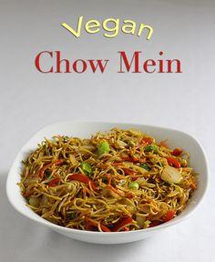 Illustrated recipe for vegan chow mein noodles Delicious Vegan Recipes, Raw Food Recipes, Veggie Recipes, Vegetarian Recipes, Cooking Recipes, Healthy Recipes, Asian Recipes, Vegetarian Soup, Veggie Food