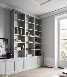 Home Interior Classic Can we just take a moment for this perfect dove grey bookshelf DIVINE via.Home Interior Classic Can we just take a moment for this perfect dove grey bookshelf DIVINE via Living Room Shelves, Home Living Room, Living Room Decor, Decor Room, Grey Bookshelves, Built In Bookcase, Painted Bookshelves, Bookshelf Wall, Barrister Bookcase