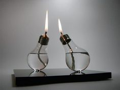 Light bulb oil lamps.