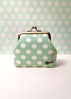 Green polkadot Metal frame coin purse kiss by BlueRabbitHandmade