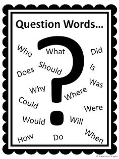 My younger students often don't know the difference between questions and statements. A list of question words to refer to really helps them. I'll be posting this on the wall when we have sharing time. Reading Strategies, Reading Skills, Teaching Reading, Teaching Phonics, Kindergarten Reading, Guided Reading, Fun Learning, Teaching Ideas, 2nd Grade Writing