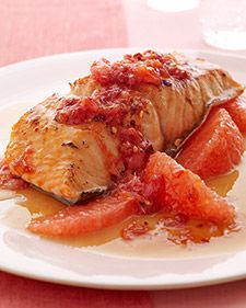 Or maybe this for dinner...This sweet, astringent red-grapefruit relish gets a bit of heat from red-pepper flakes. A perfect foil for salmon, it also works with chicken or pork.     Per serving: 381 calories