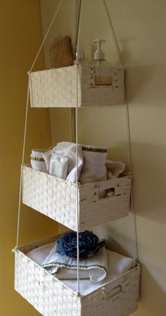 Cut Down A Curtain Rod And Hang Wicker Baskets For Cute Easy Bathroom Storage Apartment