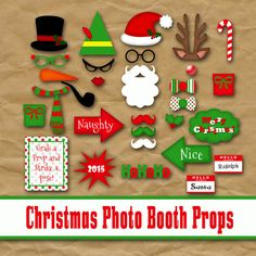 Christmas Photo Booth Props and Banner - Printable - Includes over 30 Images in Jpeg and PDF Formats - Digital Download - INSTaNT DOWNLoAd