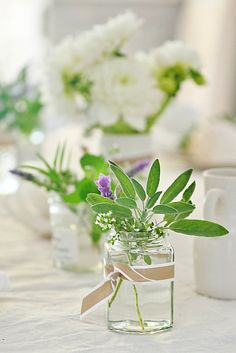 Tablescapes with Herbs | ... blog country coastal flowers and herbs mason jar abeachcottage.com