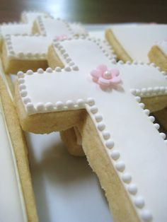 My favorite were these white-on-white crosses. So sweet with just a little flower in the middle.
