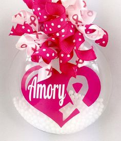 Personalized Breast Cancer Awareness Christmas Ornament by SparklesandSpice11 on Etsy