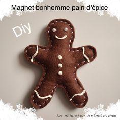 DIY Felt Gingerbread Magnet with Template Christmas Diy, Merry Christmas, Christmas Decorations, Reindeer, Snowman, Diy Magnets, Paper Birds, Paper Doilies, Church Crafts