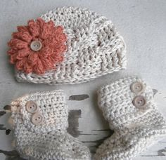 Crochet Hat and Booties Crochet Baby Boots by stitchesbystephann,