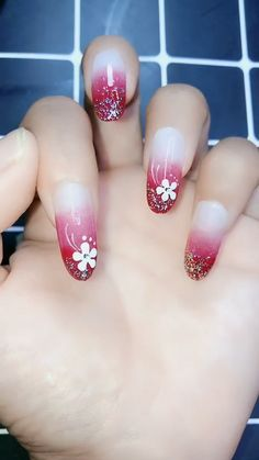 Flower Manicure, Funny Emoji Nail Art Designs Ideas 2019 Flower Manicure, Funny Emoji Nail Art Designs Ideas 2019 Christmas nails are that necessary component of your good vacation look. Nail Art Designs Videos, Nail Art Videos, Nail Designs, Diy Nails, Cute Nails, Pretty Nails, Nail Nail, Christmas Nail Art Designs, Christmas Nails