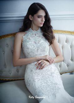 Mermaid wedding dress. Bodice with halter neck with gemstone embroidery.Imposing…