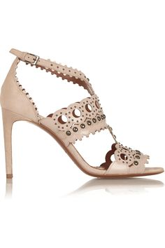 28f129356be7c4 Alaïa - Laser-cut patent-leather and suede sandals Studded Sandals