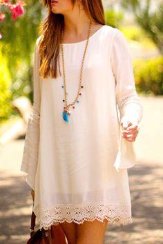 Lace Splicing Loose-Fitting Long Sleeve Dress Casual Dresses 0ddaa607b