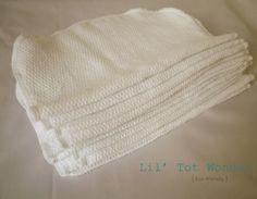 24 Organic unbleached Cotton washcloth/cloth wipe by LilTotWonder, $30.00