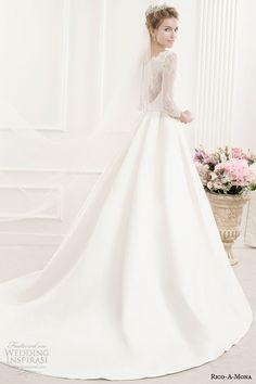 rico a mona bridal illusion long sleeve princess ball gown wedding dress back view