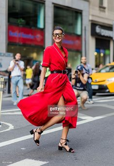 Giovanna Engelbert wearing a red dress outside Victoria Beckham on September 11, 2016 in New York City. (Photo by Christian Vierig/Getty Images)