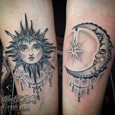 "125 Likes, 1 Comments - TattooCloud (@thetattoocloud) on Instagram: ""sun and moon tattoos by artist Chris Melzo @chrisatblackcat @blackcattattooreno in Reno, NV…"""