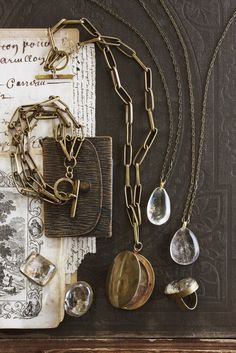 Quartz Rings and Necklace Voyager Locket by roost