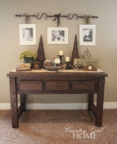 Curtain rod for picture frames; rustic entryway buffet; non-cheesy x-mas decor