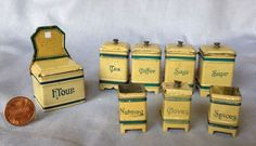 Antique Miniature Canisters for Dollhouse Kitchen- circa1900-1910