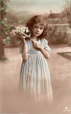 Vintage Postcard ~ Pretty Girl w/ Flowers