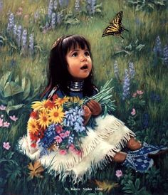 """❤️""""Little Butterfly"""" ~ Native American Fine Art by Karen Noles kK Native American Paintings, Native American Pictures, Indian Pictures, Indian Paintings, American Artists, Oil Paintings, Paintings Famous, Abstract Paintings, Native Child"""