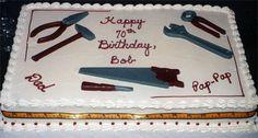Carpenters Cake cakepins.com Daddy Birthday, 80th Birthday, Birthday Parties, Boy Cakes, Cakes For Boys, Tool Cake, Carpenter, Cake Ideas, Cake Decorating