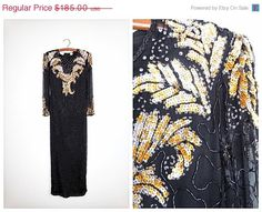 1 DAY SALE Vtg Gold & Silver Sequin Art Deco Gown // by braxae