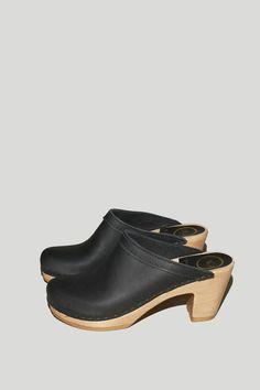 Old School Clog on High Heel in Black $275