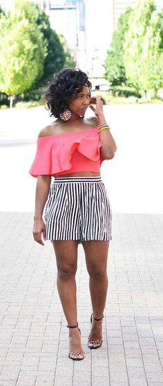 Stripes, Shorts, Stripes and Leopard, Off The Shoulder Top, Indianapolis Style Blog