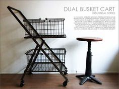 【楽天市場】ダブルバスケットワゴン/アンティークフレンチパリ北欧シャビー雅姫レトロインダストリアルtruck furniture:UNIROYAL