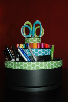 Monday Made It!  I decorated a Pampered Chef Tool Turn About to use in my classroom!