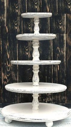 Four-tiered Shabby white cake pedestal,Wooden cake stand,shabby chic cake stand,woode White Wedding Cupcakes, Cupcake Stand Wedding, White Cupcakes, Custom Cupcakes, Wedding Cake Stands, Wedding Cakes, Diy Cupcake Stand, Cupcake Stands For Weddings, Cupcake Holders