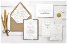 Debonair Wedding Invite suite with Ribbon   Kraft whimsical invitation   Smitten On Paper