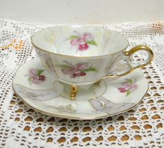 Vintage Lusterware Cattleya Orchid Footed Teacup and Saucer Made in Japan Gray Lavender Purple (35.99 USD) by RitasGarden