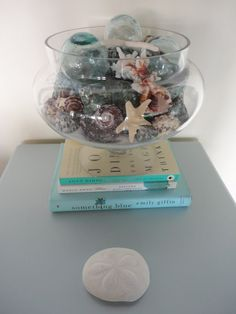 shells and books...should start collecting aqua bound books